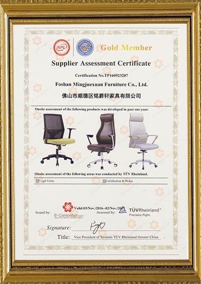 Gold member -Supplier assessment certificate