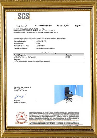 Product test report BIFMA X5.1-2017 assessed by SGS
