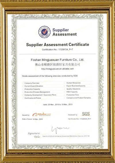 Supplier assessment certificate assessed by SGS