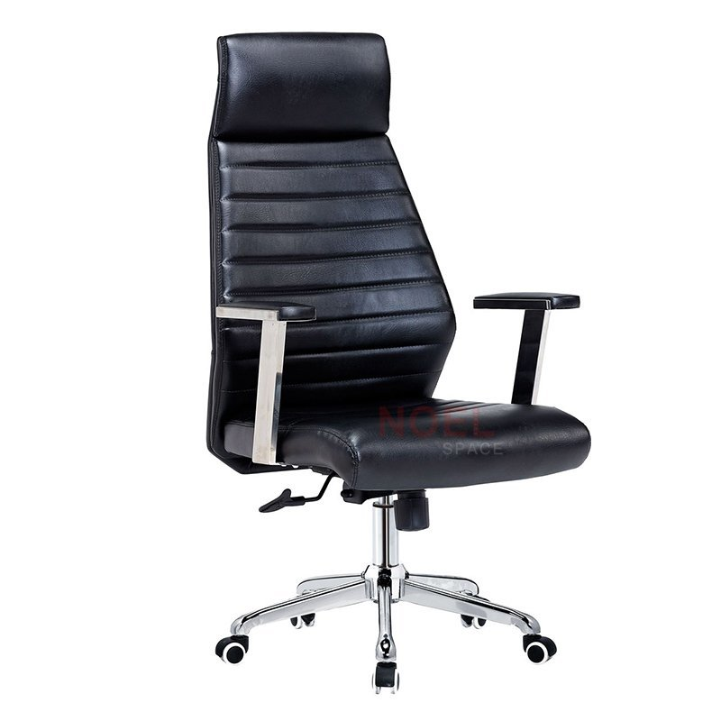 PU covered high back ergonomic office chair with stainless steel armrest 1303