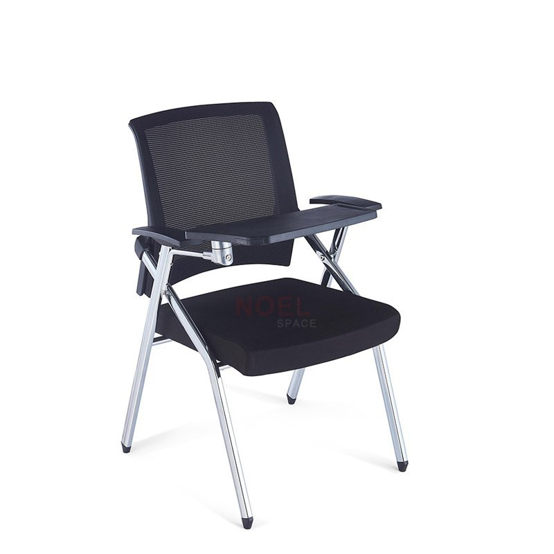 Economic latest waiting plastic back chair training chairs with tablet  D2606