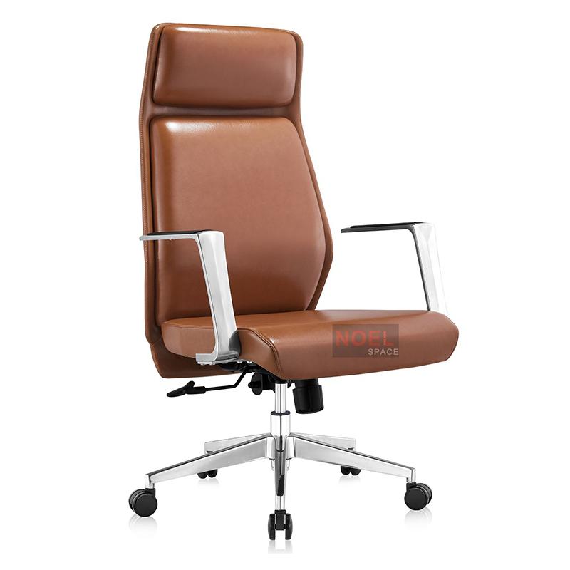 High back swivel chrome metal base office chair A2353
