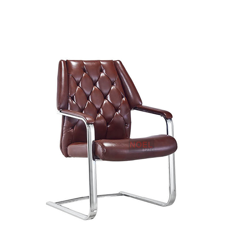 Executive chair leather chrome modern conference chair D2388 (brown)