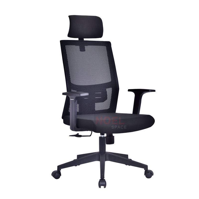 Home office Black height adjustable fabric armchair for computer desk