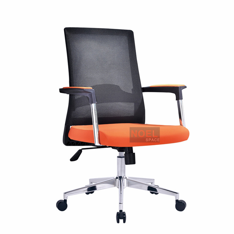 Modern luxury office table chair specification mesh office chair with lumbar support B2620 Orange + black