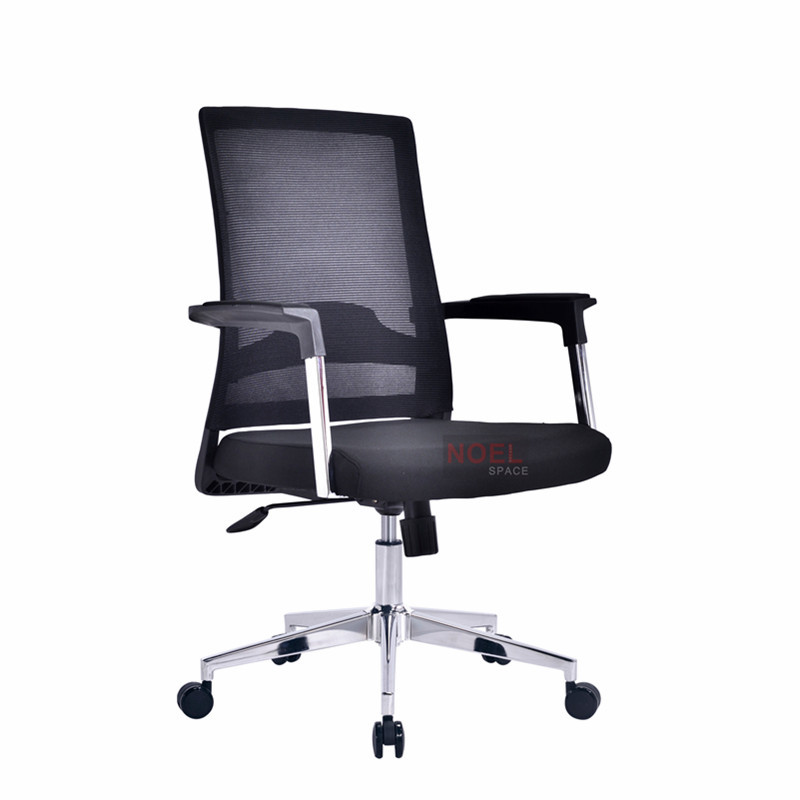 Modern office furniture chrome base mesh mid back executive chair B2620 black